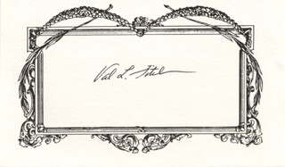 VAL L. FITCH - PRINTED CARD SIGNED IN INK