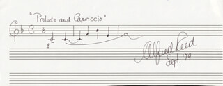 ALFRED REED - AUTOGRAPH MUSICAL QUOTATION SIGNED 9/1979