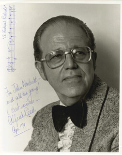 ALFRED REED - INSCRIBED MUSICAL QUOTATION ON PHOTO SIGNED 4/1979