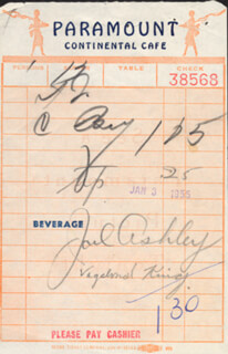 JOEL ASHLEY - MEAL TICKET SIGNED 01/03/1955  - HFSID 201521