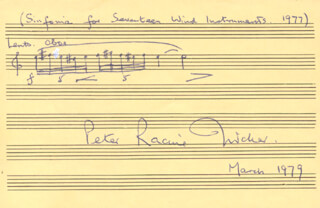 PETER RACINE FRICKER - AUTOGRAPH MUSICAL QUOTATION SIGNED 3/1979