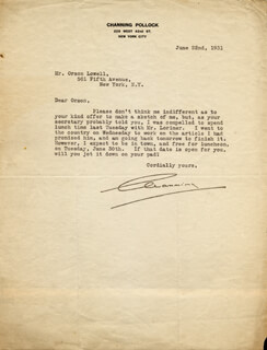 CHANNING POLLOCK - TYPED LETTER SIGNED 06/22/1931