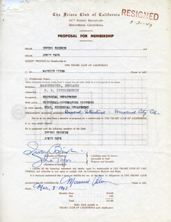 MAURICE PIVAR - APPLICATION SIGNED 03/08/1947 CO-SIGNED BY: IRVING BRISKIN, JONIE TAPS