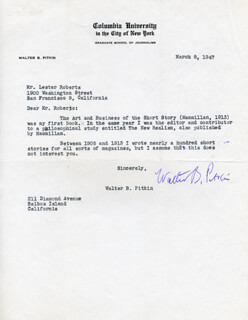 WALTER B. PITKIN - TYPED LETTER SIGNED 03/08/1947