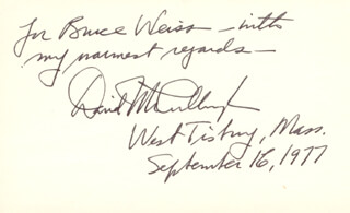 DAVID G. MCCULLOUGH - AUTOGRAPH NOTE SIGNED 09/16/1977