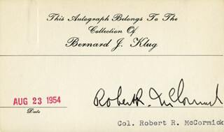 COLONEL ROBERT R. MCCORMICK - PRINTED CARD SIGNED IN INK 08/23/1954