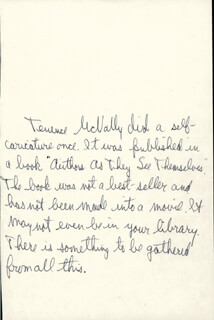 TERRENCE McNALLY - THIRD PERSON AUTOGRAPH NOTE