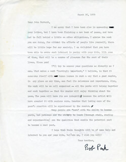 ROBERT PECK - TYPED LETTER SIGNED 03/26/1979