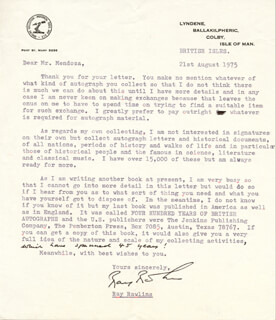 RAY RAWLINS - TYPED LETTER SIGNED 08/21/1975