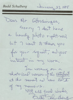 BUDD SCHULBERG - AUTOGRAPH LETTER SIGNED 01/27/1985