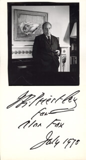 J.B. (JOHN) PRIESTLEY - INSCRIBED PHOTOGRAPH MOUNT SIGNED 7/1978
