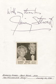 JAMES JIMMY STEWART - AUTOGRAPH SENTIMENT SIGNED