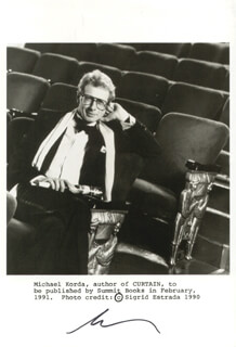 MICHAEL KORDA - AUTOGRAPHED SIGNED PHOTOGRAPH
