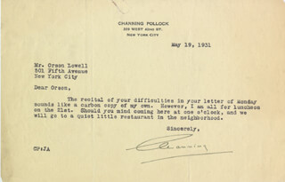 CHANNING POLLOCK - TYPED LETTER SIGNED 05/19/1931