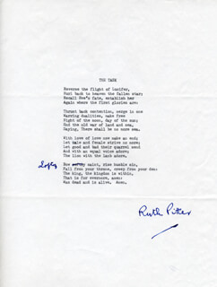 Autographs: RUTH PITTER - POEM SIGNED