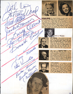 Autographs: NATALIE WOOD - SIGNATURE(S) CO-SIGNED BY: GENE EVANS, PATRIC KNOWLES, DONALD CRISP, JACK L. SPORTING BLOOD WARNER, MICHAEL WILDING, NICK HILTON, TONI (ANTONIA) KNOWLES, MARIE McDONALD, FRED CLARK, ROBERT YOUNG, LOUIS WOLFE WOLFIE GILBERT, ART LINKLETTER, PAT O'BRIEN, DOODLES WEAVER