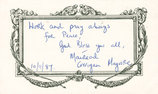 Autographs: MAIREAD CORRIGAN MAGUIRE - AUTOGRAPH QUOTATION SIGNED 10/11/1987