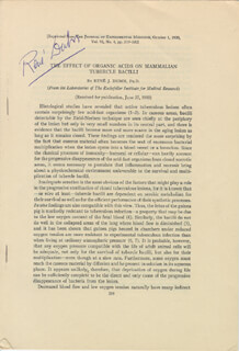 RENE J. DUBOS - ARTICLE SIGNED