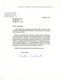 ARTHUR L. SCHAWLOW - TYPED LETTER SIGNED 10/20/1991