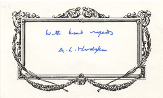 Autographs: ALAN L. HODGKIN - AUTOGRAPH SENTIMENT SIGNED