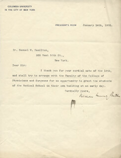 NICHOLAS MURRAY BUTLER - TYPED LETTER SIGNED 01/14/1902