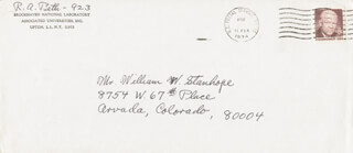 RICHARD A. BETH - AUTOGRAPH ENVELOPE SIGNED CIRCA 1974