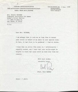KARL RAWER - TYPED LETTER SIGNED 12/05/1978