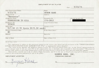 BYRON KANE - ONE DAY MOVIE CONTRACT SIGNED 09/23/1975