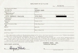 BYRON KANE - ONE DAY MOVIE CONTRACT SIGNED 09/19/1975