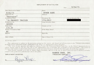 BYRON KANE - ONE DAY MOVIE CONTRACT SIGNED 09/24/1975