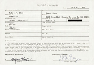 BLACK CHRISTMAS MOVIE CAST - ONE DAY MOVIE CONTRACT SIGNED 07/17/1975 CO-SIGNED BY: BYRON KANE, ALAN SHAYNE