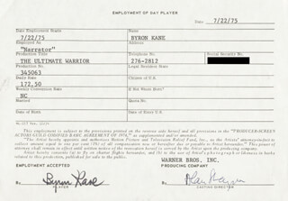 THE ULTIMATE WARRIOR MOVIE CAST - ONE DAY MOVIE CONTRACT SIGNED 07/22/1975 CO-SIGNED BY: BYRON KANE, ALAN SHAYNE