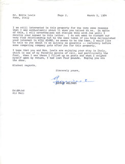 GEORGE WELTNER - TYPED LETTER SIGNED 03/09/1964