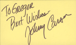 JOHNNY CARSON - AUTOGRAPH NOTE SIGNED