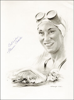 Autographs: FLORENCE M. CHADWICK - PRINTED ILLUSTRATION SIGNED