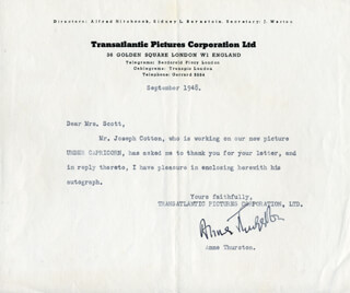 ANNE THURSTON - TYPED LETTER SIGNED 9/1948