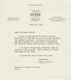 ROBERT FUOSS - TYPED LETTER SIGNED 04/20/1953