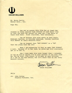 OSCAR WILLIAMS - TYPED LETTER SIGNED 10/10/1975