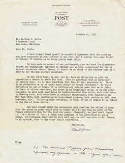 ROBERT FUOSS - TYPED LETTER SIGNED 10/24/1952