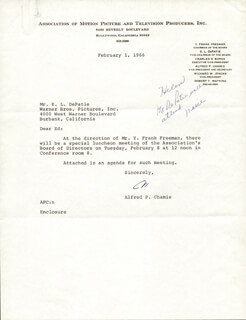 ALFRED P. CHAMIE - TYPED LETTER SIGNED 02/01/1966