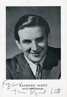 RAYMOND SCOTT - AUTOGRAPHED INSCRIBED PHOTOGRAPH