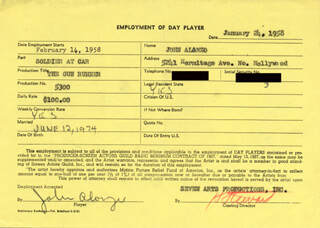 JOHN ALONZO - DOCUMENT SIGNED 01/24/1958 CO-SIGNED BY: HERB STEWART
