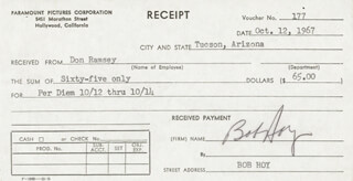 ROBERT F. BOB HOY - RECEIPT SIGNED 10/12/1967