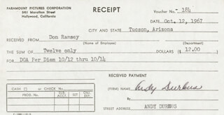ANDY DURKUS - RECEIPT SIGNED 10/12/1967