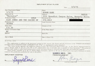 CLEOPATRA JONES AND THE CASINO OF GOLD MOVIE CAST - ONE DAY MOVIE CONTRACT SIGNED 03/05/1975 CO-SIGNED BY: BYRON KANE, ALAN SHAYNE