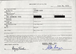 THE DROWNING POOL MOVIE CAST - ONE DAY MOVIE CONTRACT SIGNED 06/24/1975 CO-SIGNED BY: BYRON KANE, ALAN SHAYNE