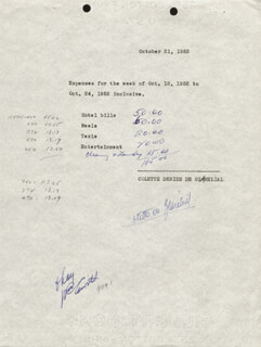 COLETTE DEREAL DE GLARELIAL - ANNOTATED DOCUMENT SIGNED 10/21/1952