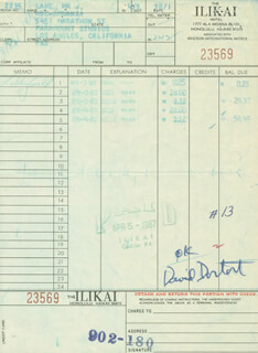 DAVID DORTORT - RECEIPT SIGNED CIRCA 1967