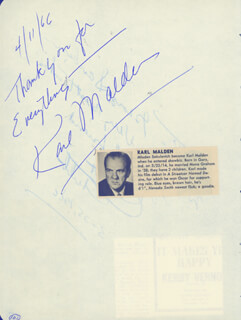 KARL MALDEN - AUTOGRAPH 04/11/1966 CO-SIGNED BY: ERNEST TUBB