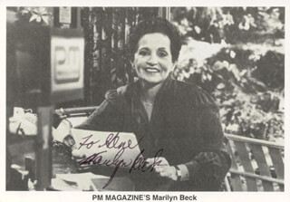 MARILYN BECK - INSCRIBED PRINTED PHOTOGRAPH SIGNED IN INK